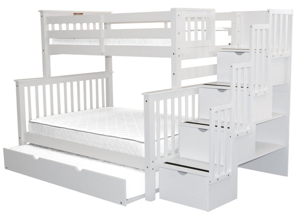 Bunk Beds Twin Over Full Stairway White Full Trundle 1048