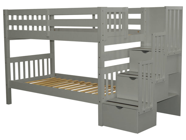 Stairway Twin over Twin Bunk Bed Gray