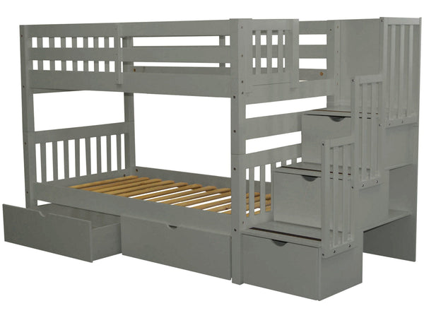 Stairway Twin over Twin Bunk Bed Gray with Drawers