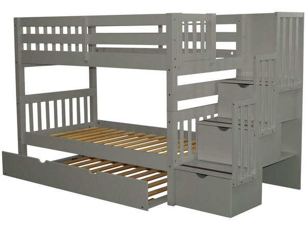 Stairway Twin over Twin Bunk Bed Gray with Trundle