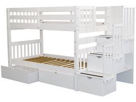 Bunk Beds Twin Stairway White 2 Drawers 896