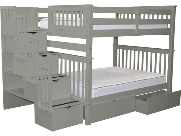 Bunk Bed Full over Full Stairway Gray with Drawers for only $1149