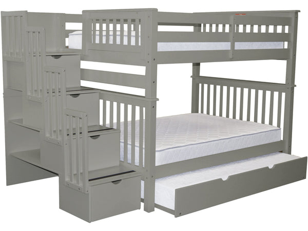 Bunk Bed Full over Full Stairway Gray with Trundle for only $1149