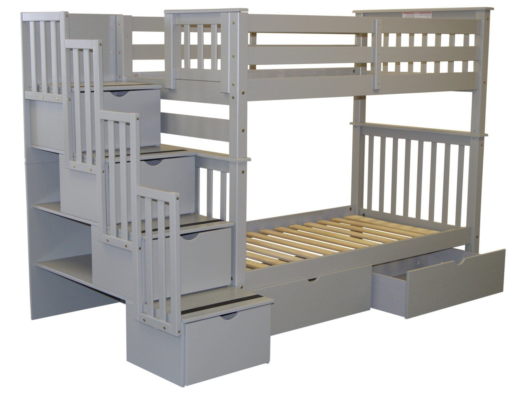 Bedz King Bunk Beds Twin Over Twin Stairway 4 Step 2 Bed Drawers