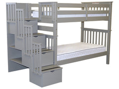 Bunk Bed Tall Twin over Twin Stairway Gray for only $715
