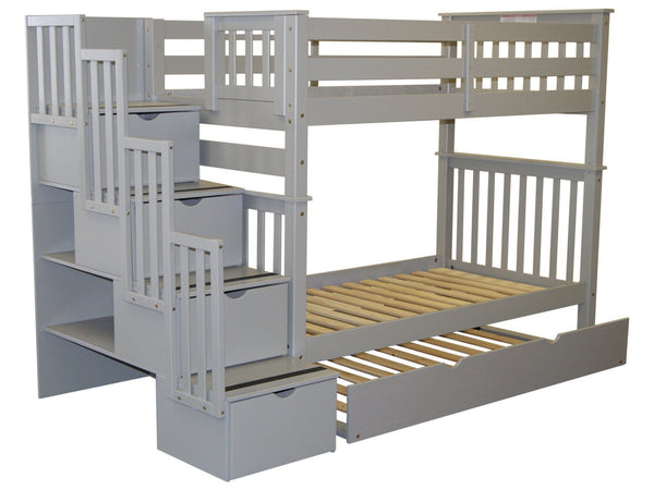 Stairway Tall Twin over Twin Bunk Bed Gray with Trundle