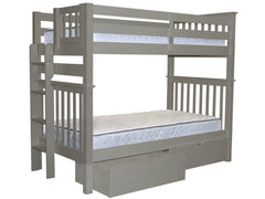 Bunk Bed Tall Twin over Twin End Ladder Gray with Drawers for only $549