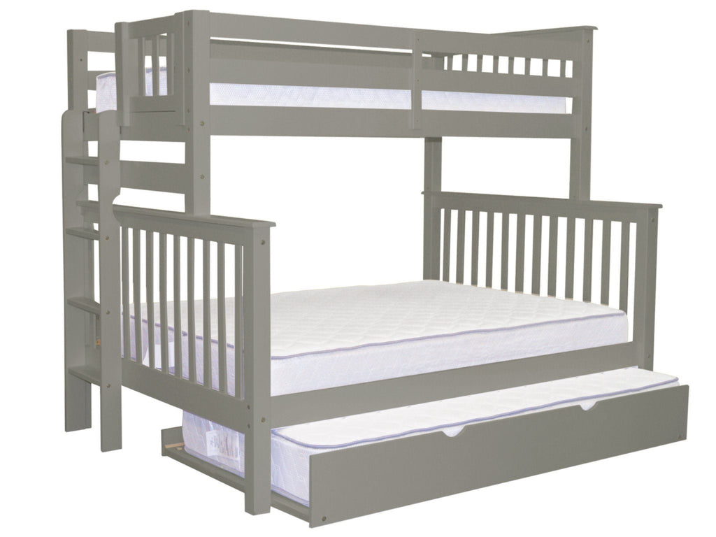 Bunk Beds Twin over Full End Ladder Gray + Trundle