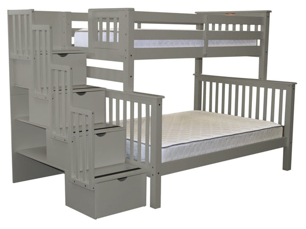 Bunk Beds Twin Over Full Stairway Gray 842