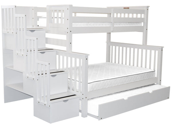Bunk Beds Twin Over Full Stairway White Trundle 998