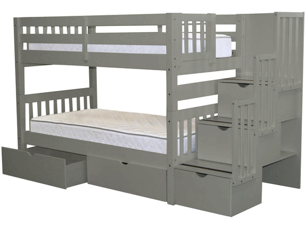 Bunk Beds Twin Stairway Gray 2 Drawers 689
