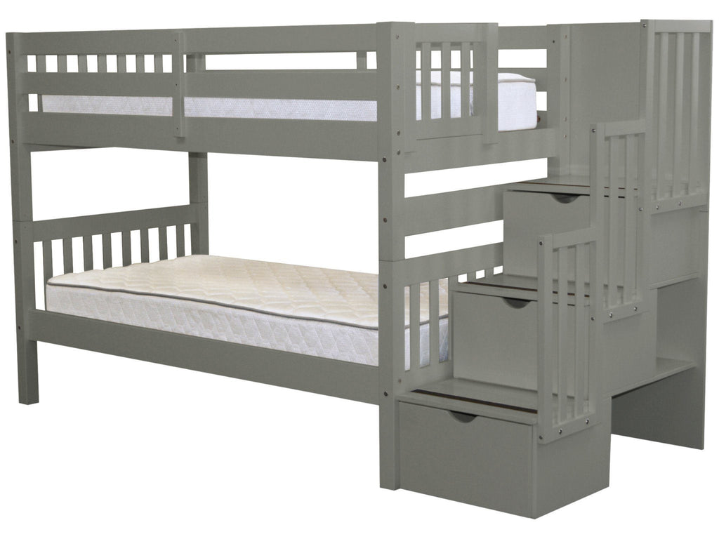 Bunk Beds Twin Stairway Gray 689 Bunk Bed King