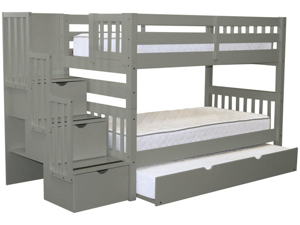 Bunk Beds Twin Stairway Gray Twin Trundle 689