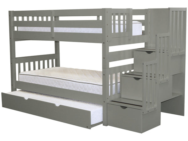 Bunk Beds Twin Stairway Gray Twin Trundle 866
