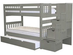 Bunk Bed Twin over Twin Stairway Gray with Trundle for only $826
