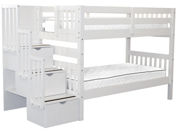 Bunk Beds Twin Stairway White 729 Bunk Bed King