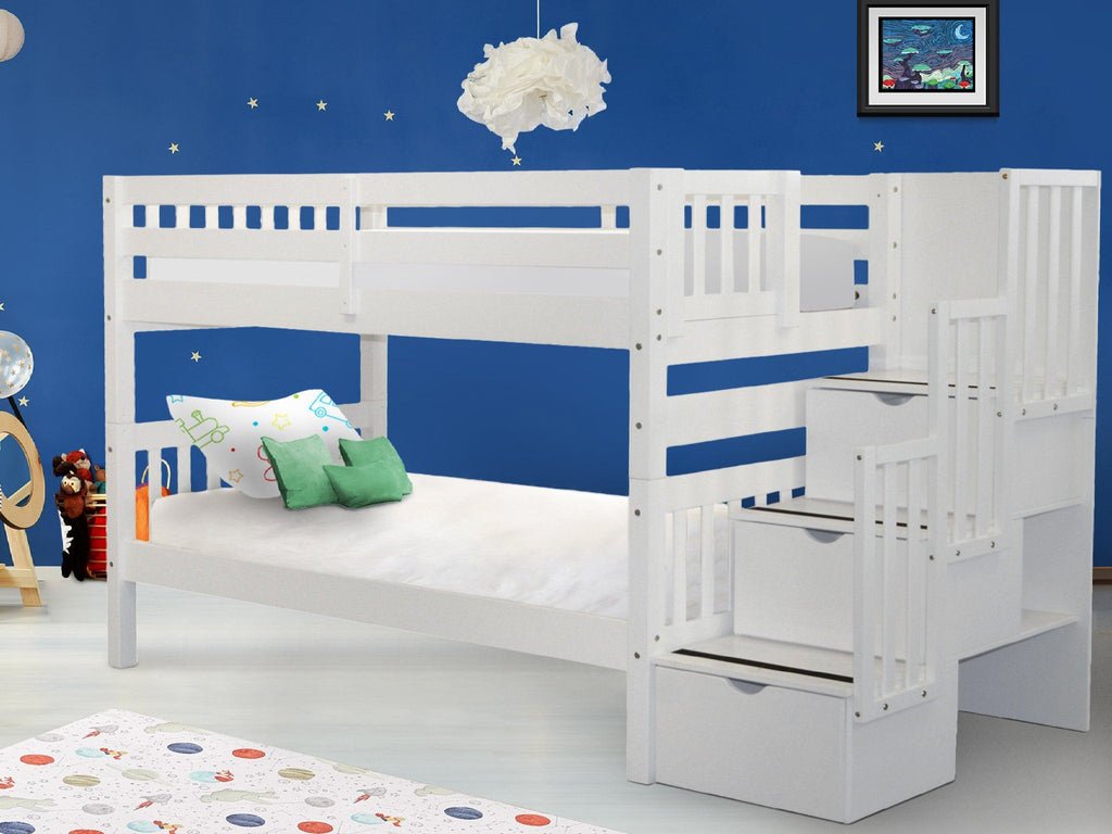 Picture of: Bunk Beds Twin Stairway White 729 Bunk Bed King