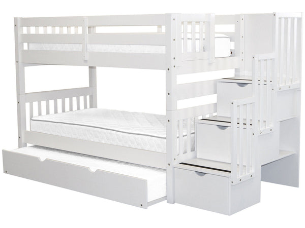 Bunk Beds Twin Stairway White Twin Trundle 866