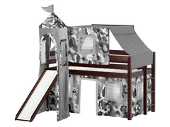 Castle Twin Low Loft Cherry End Ladder Bed with a Gray Camo Tent and a Slide for only $475