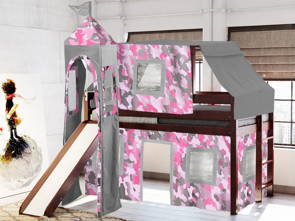 Princess Twin Loft Bed In Cherry Pink Camo Tent 475