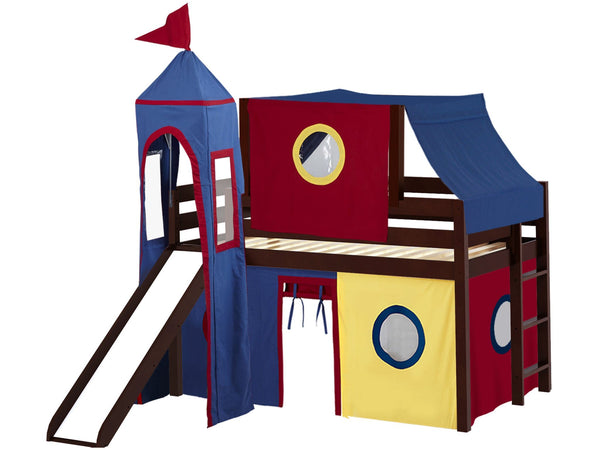 Castle Twin Low Loft Cherry End Ladder Bed with a Red and Blue Tent and a Slide for only $475