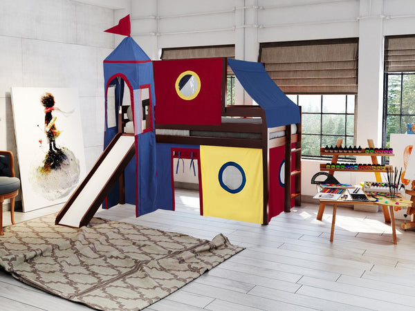 Castle Twin Loft Bed In Cherry Tent In Red Amp Blue 475