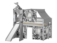 Castle Twin Low Loft Gray End Ladder Bed with a Gray Camo Tent and a Slide for only $475