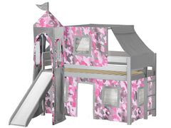Princess Twin Low Loft Gray End Ladder Bed with a Pink Camo Tent and a Slide for only $475