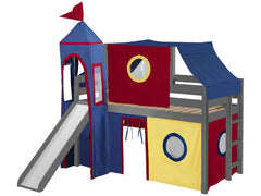 Castle Twin Low Loft Gray End Ladder Bed with a Red and Blue Tent and a Slide for only $475