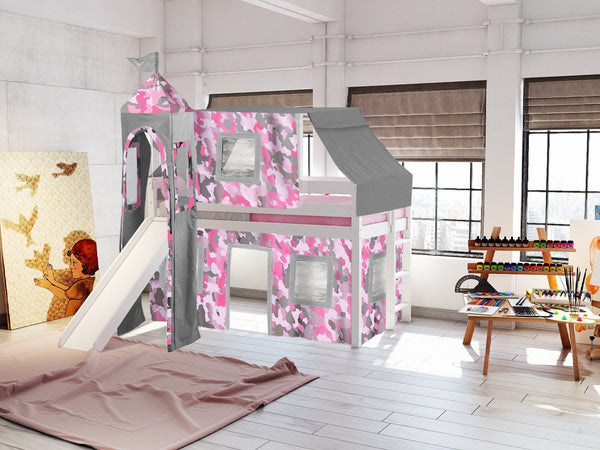 Princess Twin Loft Bed In White Pink Camo Tent 475