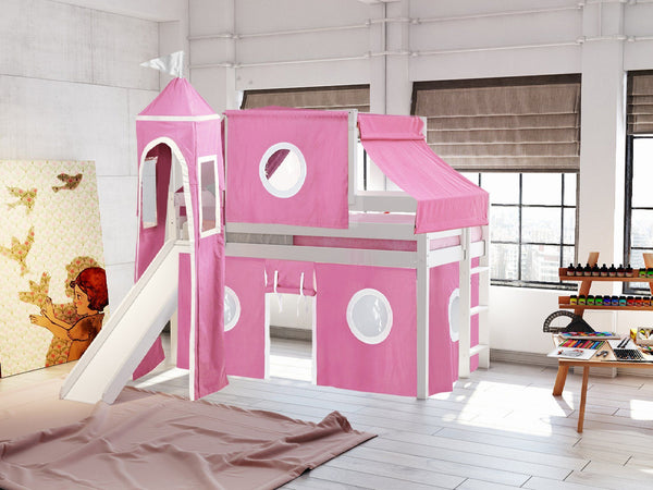 Princess Twin Loft Bed In White Pink White Tent 475