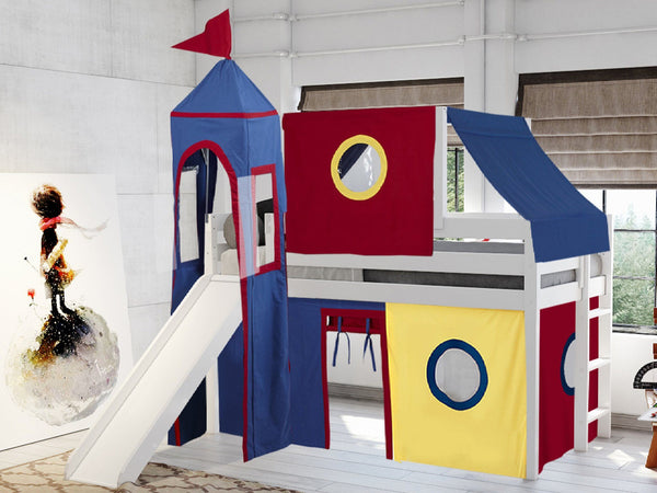 Castle Twin Loft Bed In White Tent In Red Amp Blue 475