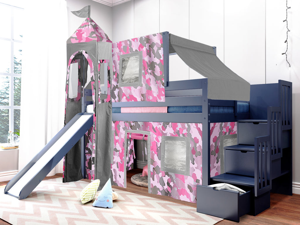 Princess Stairway Blue Loft Bed Pink Camo Tent 665