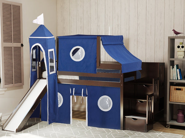 Castle Stairway Twin Loft Bed Cherry Blue Amp White Tent 665