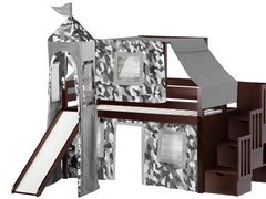 Castle Twin Low Loft Cherry Stairway Bed with a Gray Camo Tent and a Slide for only $665