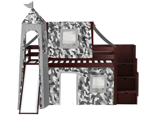 Castle Stairway Cherry Twin Loft Bed Gray Camo Tent 665