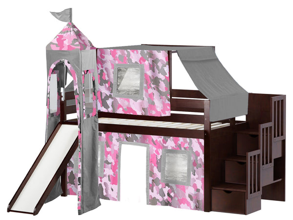 Princess Stairway Cherry Loft Bed Pink Camo Tent 665