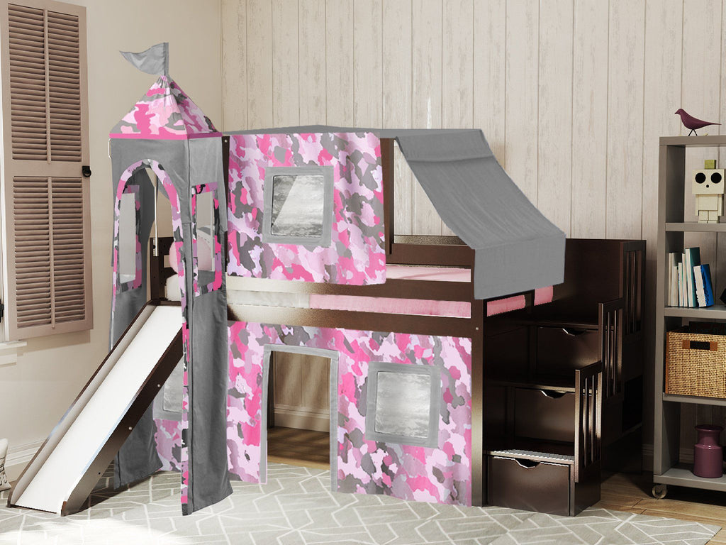 JACKPOT! Princess Twin Low Loft Stairway Bed in Cherry, Pink Camo Tent with  Slide