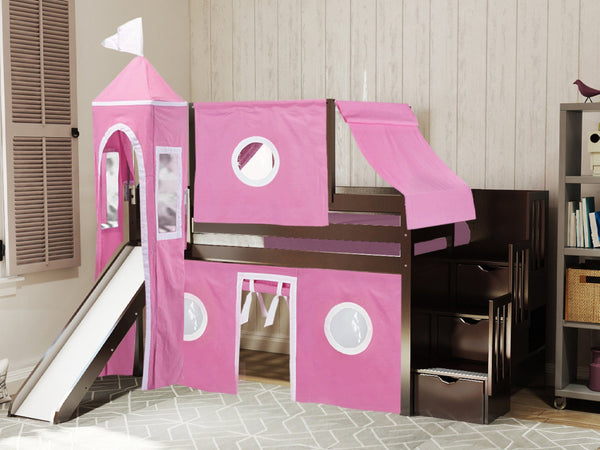 Princess Stairway Cherry Loft Bed Pink Amp White Tent 665