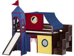 Castle Twin Low Loft Cherry Stairway Bed with Red Yellow and Blue Tent with a Slide for only $665