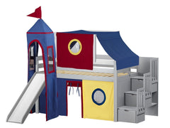 Castle Twin Low Loft Gray Stairway Bed with Red, Blue and Yellow Tent and a Slide for only $665