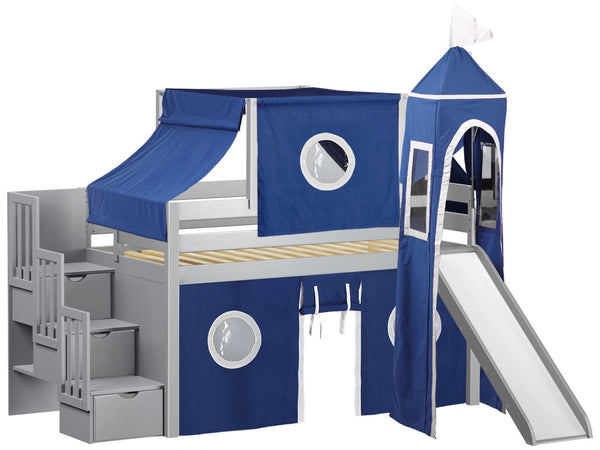 Castle Stairway Gray Twin Loft Bed Blue Amp White Tent 665