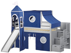 Castle Twin Low Loft Gray Stairway Bed with Blue and White Tent and a Slide for only $665