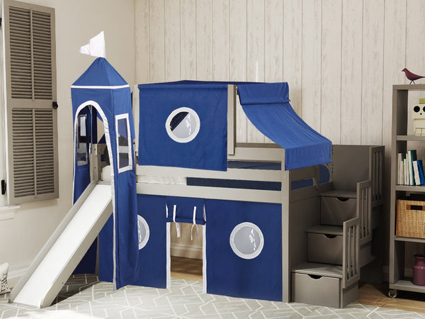 Castle Stairway Gray Twin Loft Bed Blue White Tent 665