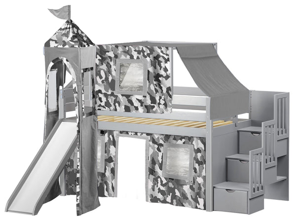 Castle Twin Low Loft Gray Stairway Bed with Gray Camo Tent and a Slide for only  sc 1 st  Bunk Bed King & Castle Stairway Gray Twin Loft Bed | Gray Camo Tent $665