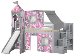 Princess Twin Low Loft Gray Stairway Bed with Pink Camo Tent and a Slide for only $665