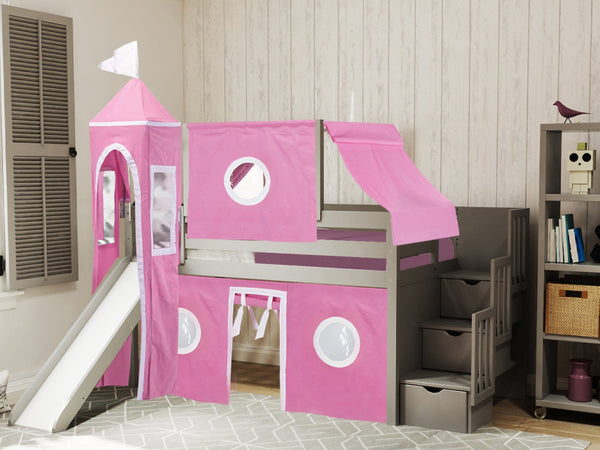 Princess Stairway Gray Loft Bed Pink Amp White Tent 665