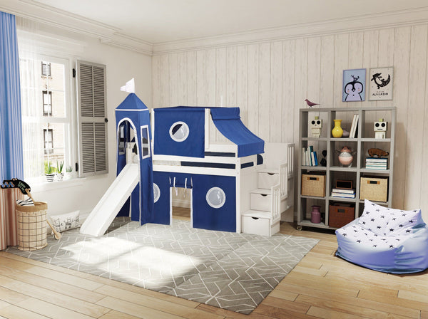 Castle Stairway White Twin Loft Bed Blue Amp White Tent 665