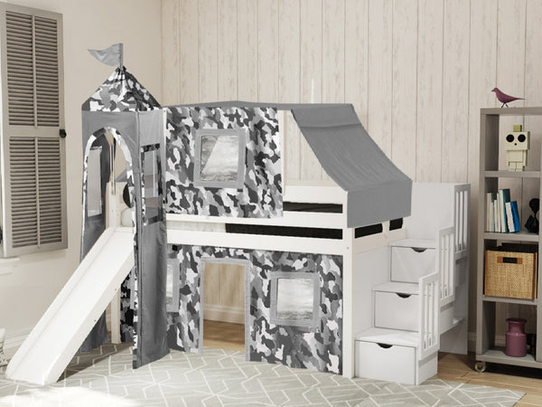 Castle Stairway White Twin Loft Bed Gray Camo Tent 665