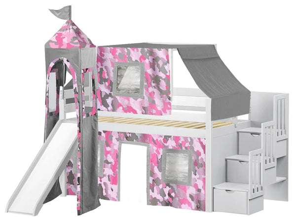 Princess Stairway White Loft Bed Pink Camo Tent 665
